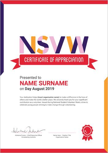 Certificates - National Student Volunteer Week